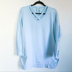 bellamie | sky blue criss cross v-neck tunic